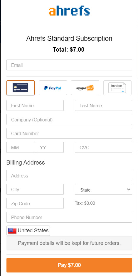 Fill Out Your Billing Details To Start